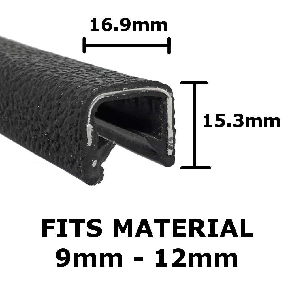 Large black rubber car edge protective trim 16.9mm x 15.3mm The Metal House