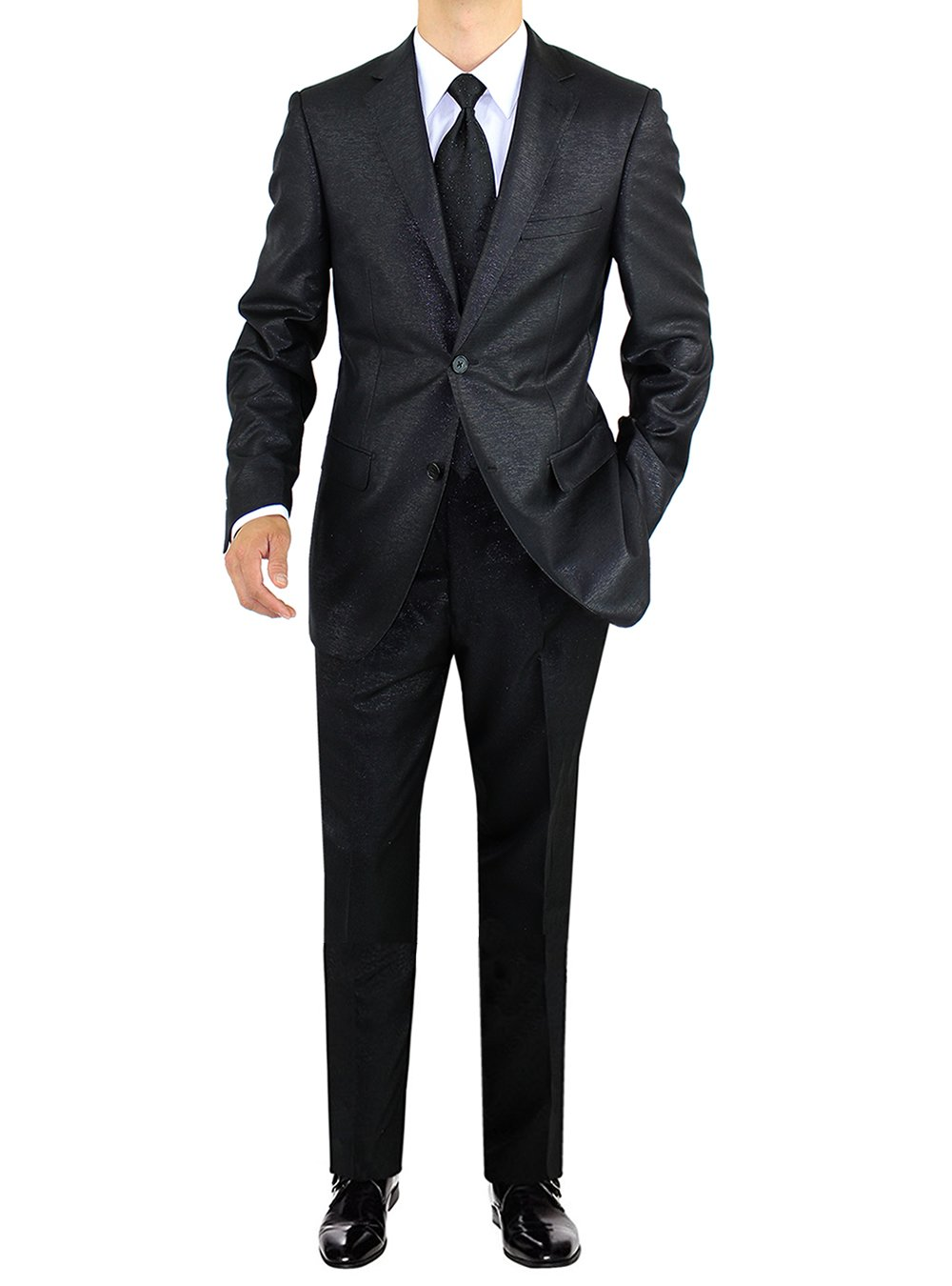Salvatore Exte Men's 2 Button Avant Garde Formal Fashion Suit (42 Regular US - 52 Regular EU, Black)