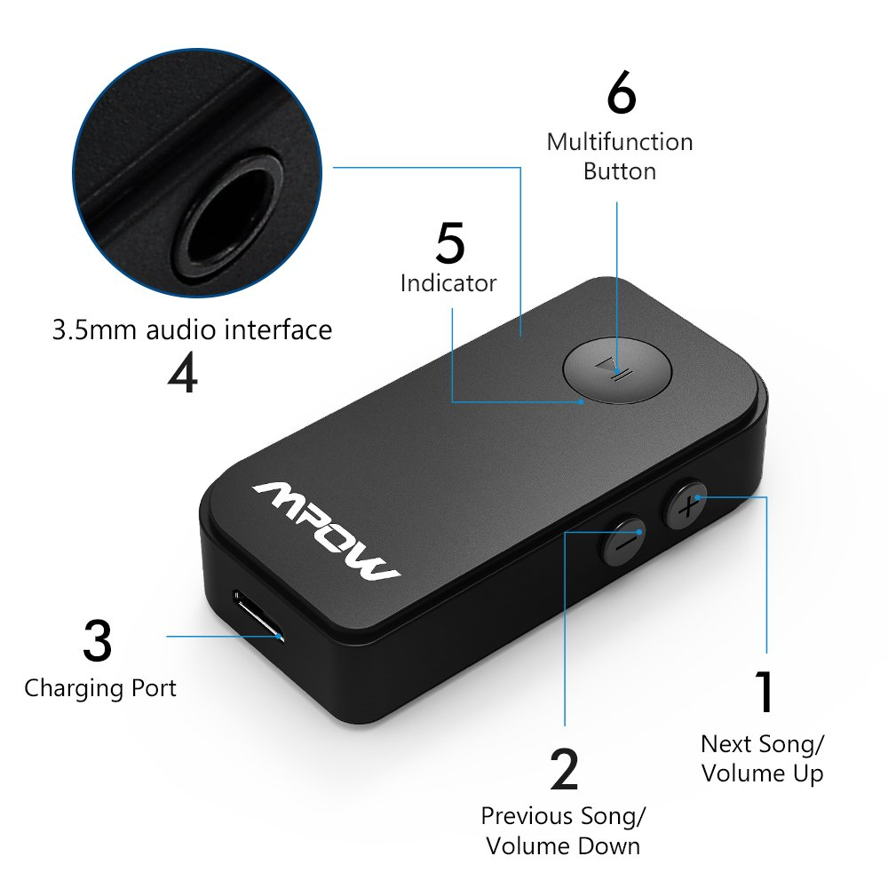 Mpow Bluetooth Receiver, Portable Bluetooth 4.1 Car Adapter & Bluetooth Car Aux Adapter For