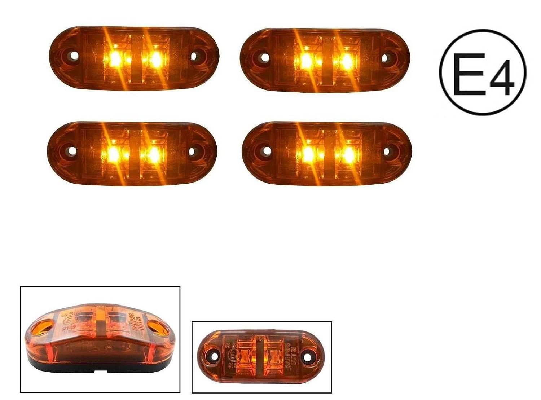 4x LED 12V GELB ORANGE BEGRENZUNGSLEUCHTE UMRISSLEUCHTE POSITIONSLEUCHTE SEITENMARKIERUNGSLEUCHTE LKW E-Pr/üf E9