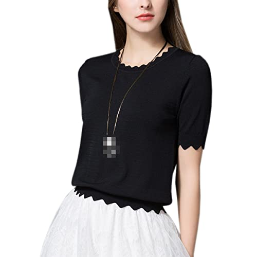 Señora Todo-fósforo Elegante Delgado De Punto De Manga Corta Camisa Remata La Blusa