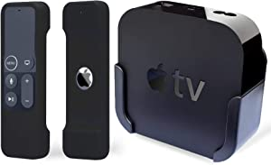 TOKERSE TV Mount with Remote Case Compatible with Apple TV 4th and 4K Generation - Wall Mount Bracket Holder and Siri Remote Silicone Protective Cover Skin Fit for Apple TV 4 HD and 4K 5th Gen - Black