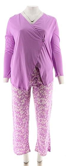 e295640e69 Carole Hochman Floral Vine Cotton Jersey 3-Pc Pajama Set Lavender 1X New  A291534