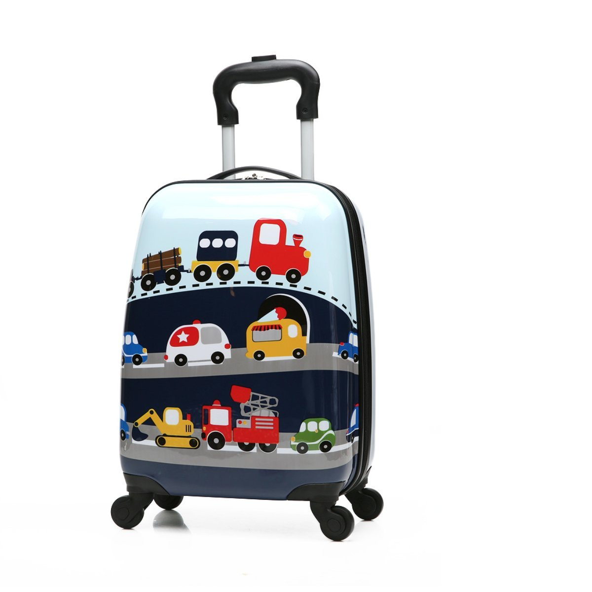 Winsday 18'' Kids Carry On Luggage Upright Hard Side Hard Shell Suitcase Travel Trolley Luggages ABS for School Girls Boys Teens (Car Pattern)