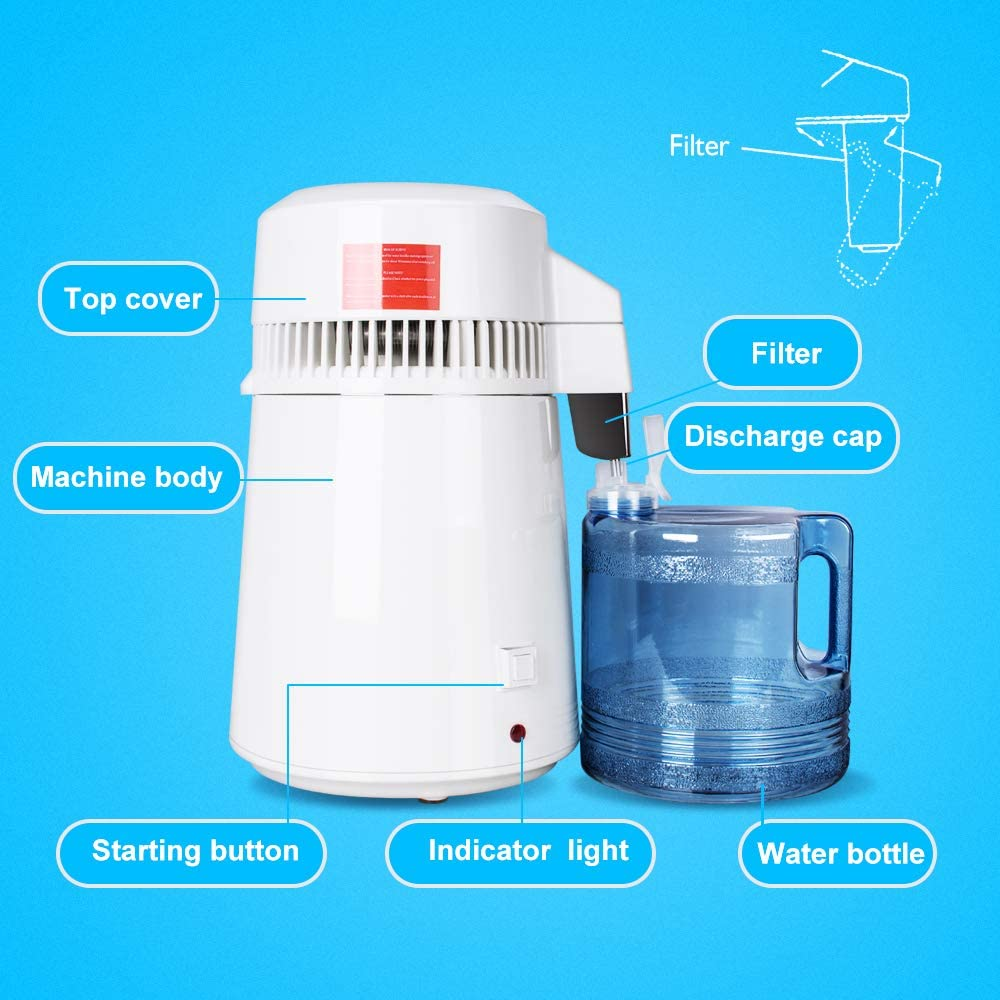 4L Stainless Steel Internal Pure Water Distiller,Countertop Water Distillers for Home//Hospital//Office//Laboratory//Travel Lolicute Water Distillation Machine, Shipping from USA