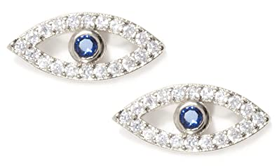 e3c2c8844 Happiness Boutique Women Evil Eye Stud Earrings in Silver Colour | Small  Ear Studs with Rhinestones in White and Blue: Happiness Boutique:  Amazon.co.uk: ...
