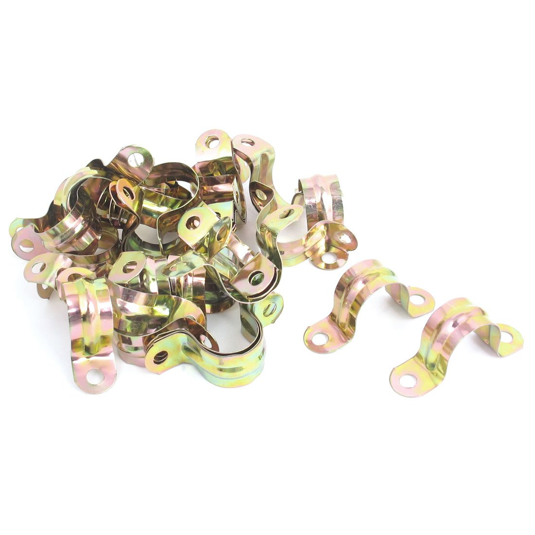 Uxcell a15120400ux0232 20mm Arch High Two Holes U Type Pipe Clamp Clips Bronze Tone 36 Pcs,