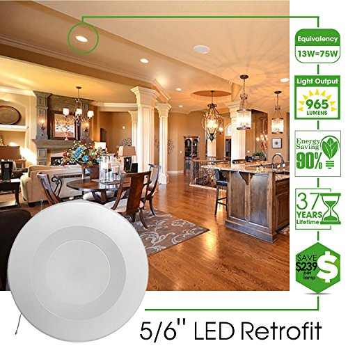Sunco Lighting 8 Pack 5 / 6Inch Baffle Recessed Retrofit Dimmable LED Light, 13W (75W Replacement), 4000K Kelvin Cool White, Quick/Easy Can Install, 1050 Lumen, Damp Area by Sunco Lighting (Image #5)