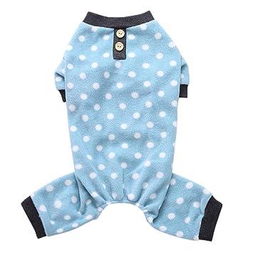 f47d95a3706 Norbi Pet Dog Pajamas Cute Polka Dots Dog Cat Apparel Puppy Jumpsuit Comfy  Winter Autumn Pjs(B Blue)  Amazon.ca  Pet Supplies