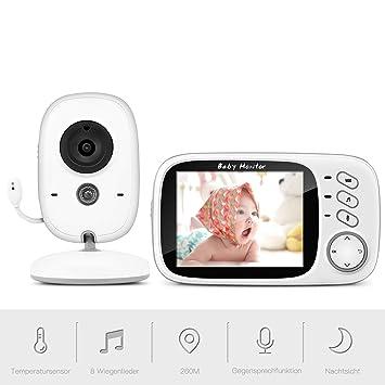 3.2 Zoll Wireless Digital Babyphone mit Kamera Video Nachtsicht Musik Babypflege