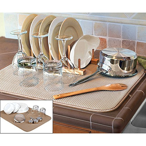 The Original XL Dual Dish Drying Mat - Dual Sided Microfiber Absorbent Machine Washable Multipurpose 18 X 24 (tan) (Pad Dry)