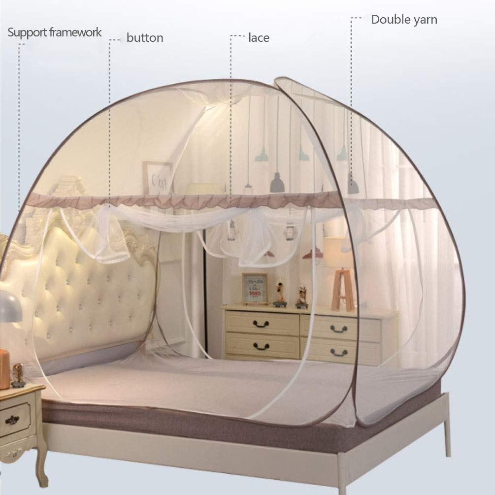 NSHUN Indoor Portable Folding Bedroom Sleeping Mosquito Net Tent Canopy Attached Bottom with Double Zipper Door (Size : 1.8m) by NSHUN (Image #4)