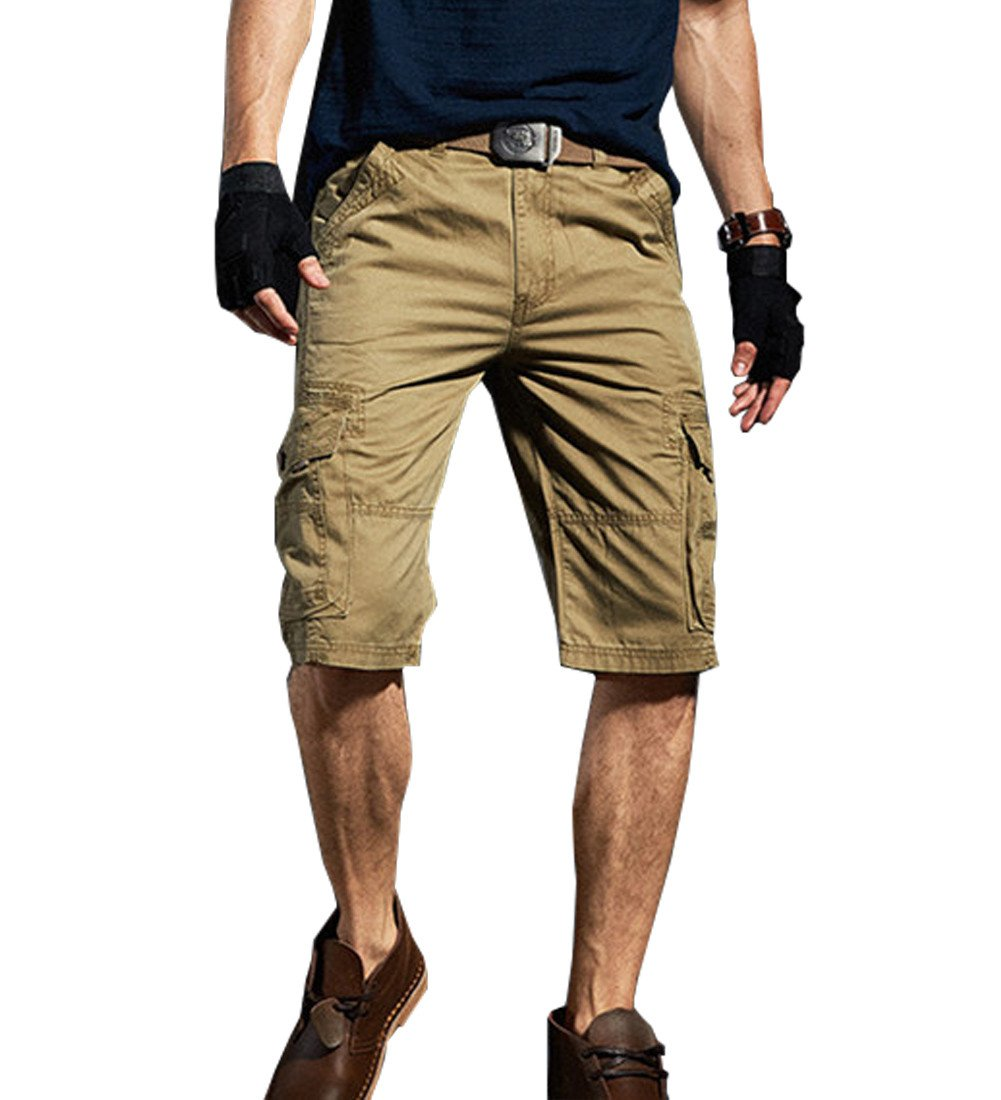 Yollmart Men's Casual Cargo Shorts Straight Multi-Pocket Cotton Outdoor Wear US29=Tag 30
