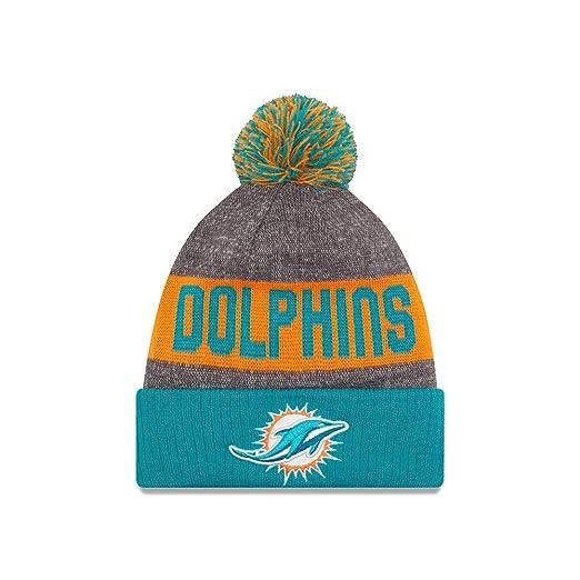 320fc1d2f19 Amazon.com   Miami Dolphins New Era 2016 NFL Sideline On Field Sport Knit  Hat - Aqua Cuff   Clothing