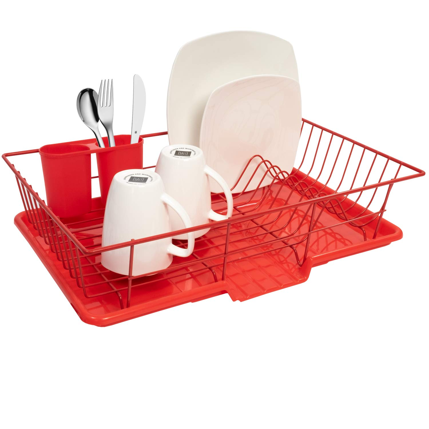 "Sweet Home Collection 3 Piece Dish Drainer Rack Set with with Drying Board and Utensil Holder, 12"" x 19"" x 5"", Red"