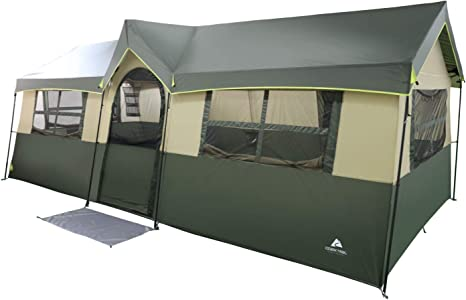 Spacious and Comfortable Ozark Trail Hazel Creek 12 Person Cabin Tent,with Two Closets with Hanging Organizers,Room Dividers,Mud Mat,E Port and