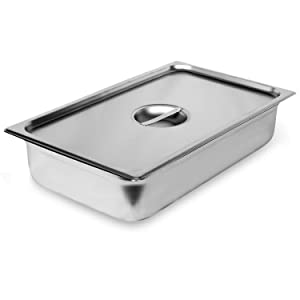 """Steam Table Pan Full Size with Cover, Hotel Pan is 4"""" Deep, Made from 25 Gauge Stainless Steel, NSF Listed."""