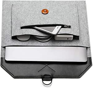 "Felt Laptop Envelope Sleeve 14-15.4 Inch - ABRONDA Felt Expandable Large Space Envelope Case Compatible MacBook Pro 15 / Retina, Also fit 13"" 14"" Ultrabook Netbook X1 Carbon Surface Book-Hemp Gray"