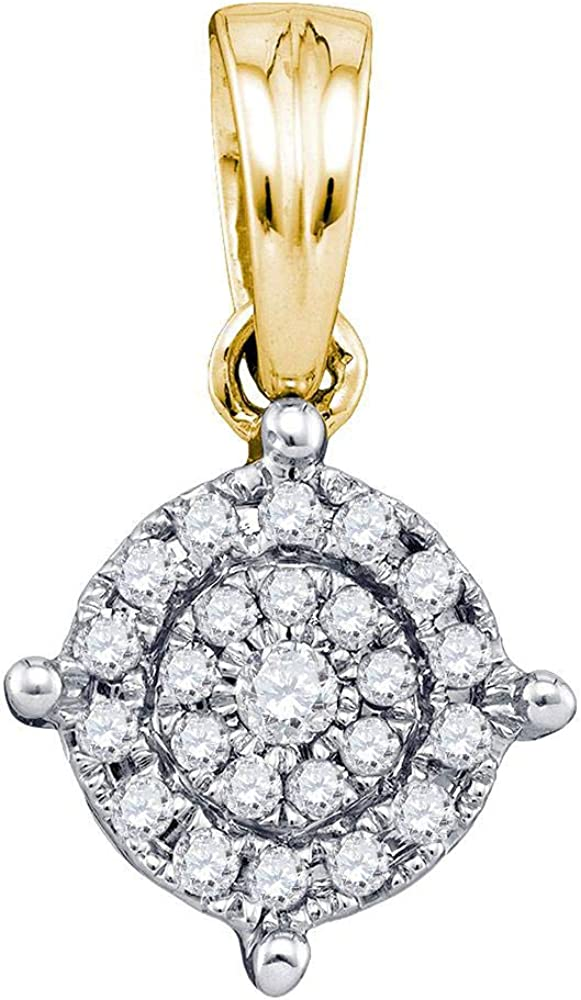 10k Yellow Gold Diamond Circle Frame Cluster Pendant 1//6 ct