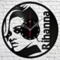 "Rihanna Music Vinyl Record Wall Clock Fan Art Handmade Decor Original Gift Unique Decorative Vinyl Clock 12"" (30 cm)"