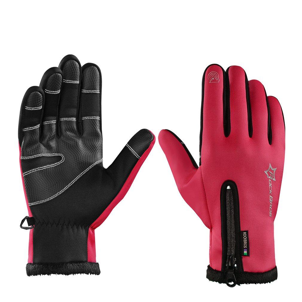 ROCKBROS Winter Cycling Gloves Thermal Windproof Warm Fleece Gloves Anti-slip