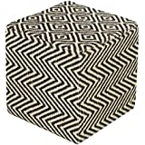 Homescapes Black and Natural Jute Herringbone Pattern Cube Pouffe - 36 x 36 x 38 cm by Homescapes