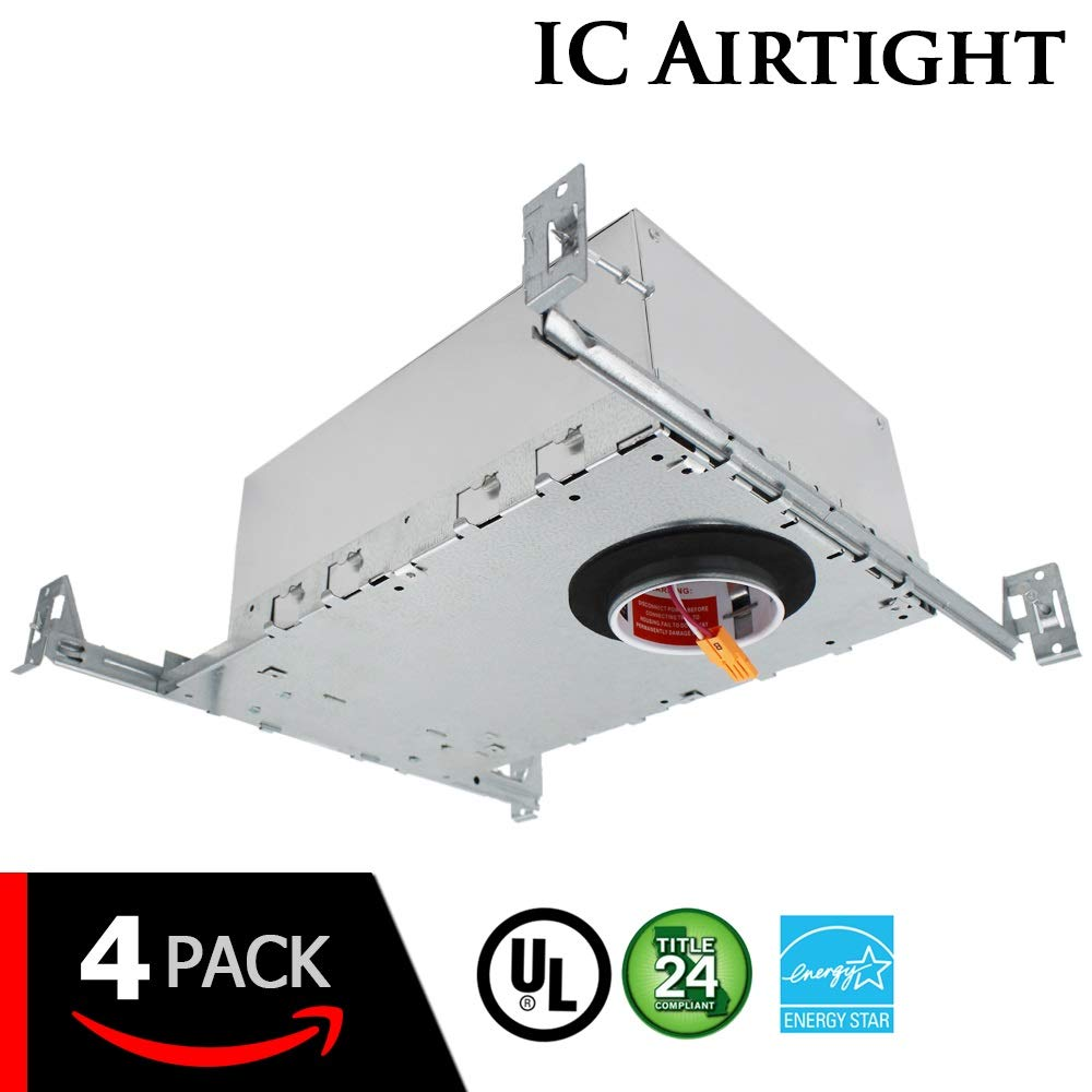 "ESD Tech 4 Pack 2"" Inch LED New Construction Recessed Housing Can with Driver for Ceiling Downlights. Airtight, IC Rated, Dimmable, UL Listed, Energy Star, Title 24 Certified TP24 Connection"