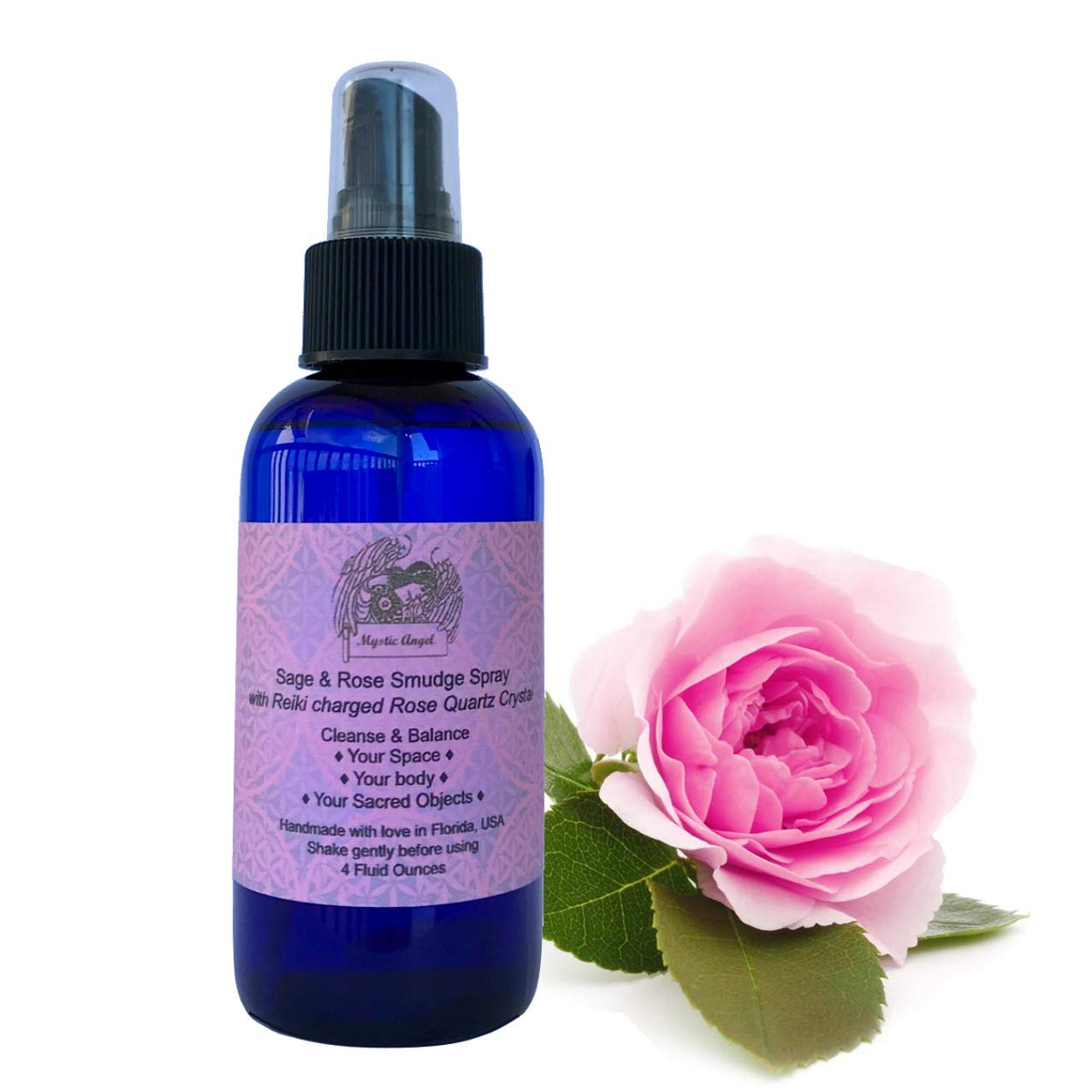 White Sage & Rose Smudge Spray (4 oz.) with Reiki Charged Rose Quartz Crystal & Archangel Chamuel Essence, 4 Oz by Mystic Angel (Image #1)