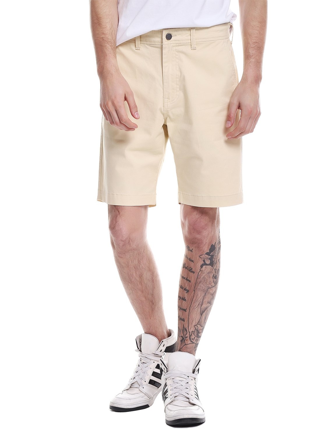 ZAN.STYLE Men's Casual Relaxed Fit Flat Front Cotton Chino Shorts Light Khaki 31(US 31/32)
