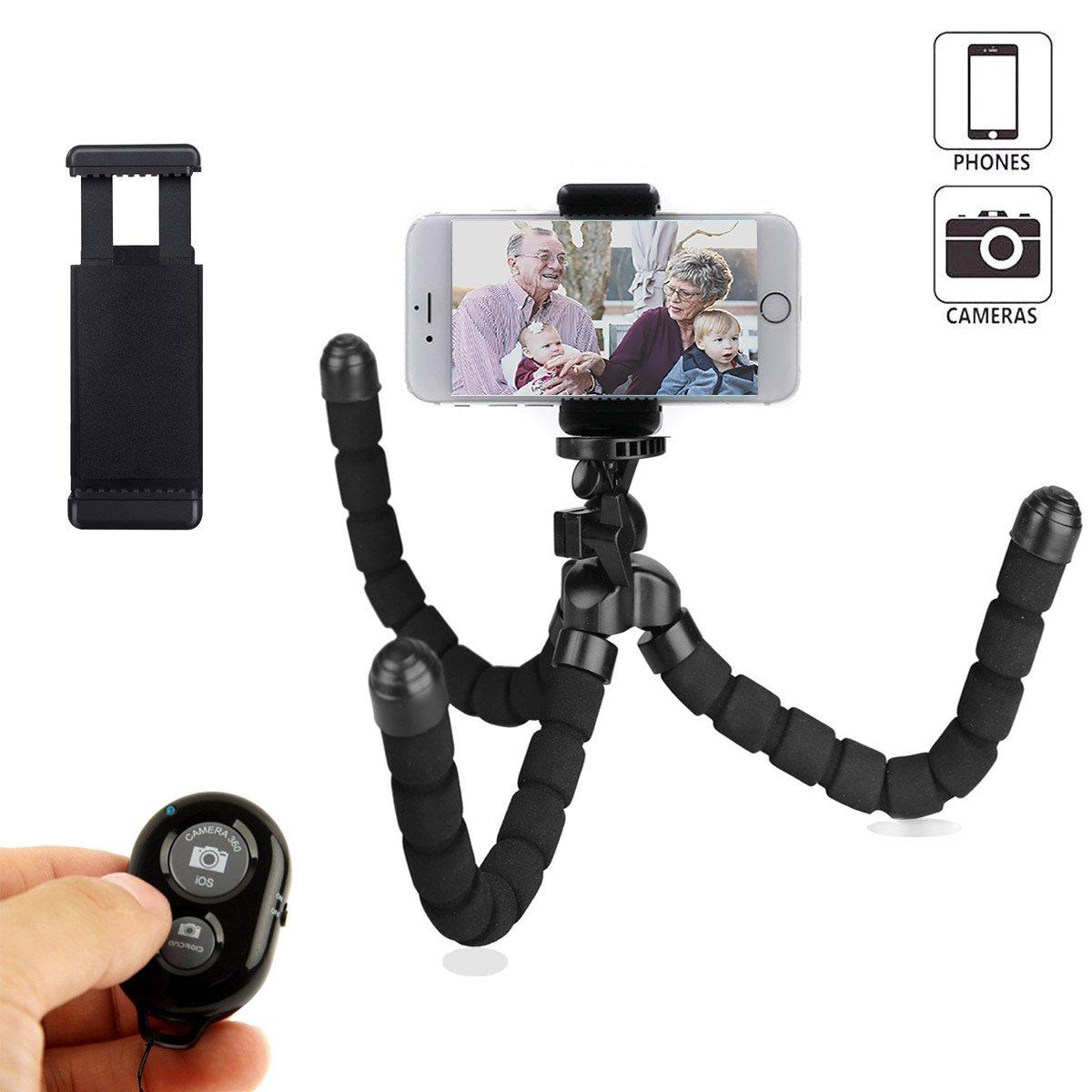 Mini trípode de teléfono flexible y portátil con control remoto inalámbrico Bluetooth