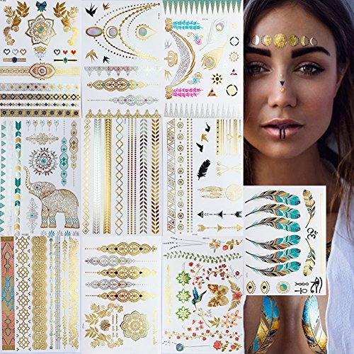 leecoo Temporary Fake Tattoos,Premium Metallic Henna Tattoos Designs in Gold and Silver,Flowers, Bracelets, Wrist and Arm Bands,10 sheets