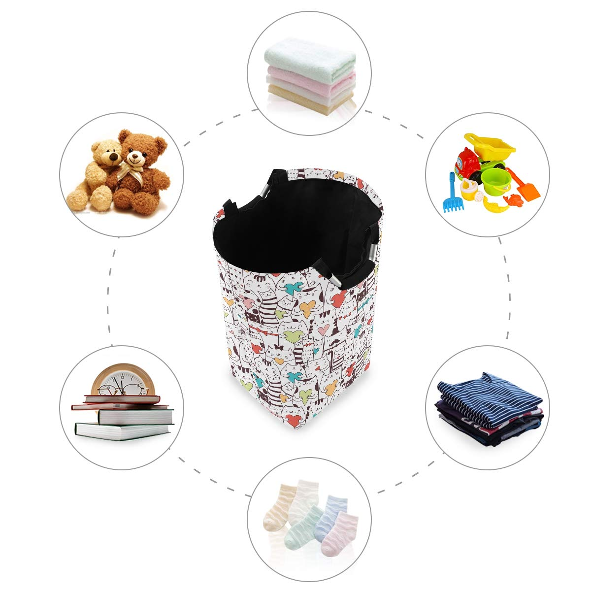 OREZI Dog and Horse Laudry Hamper,Waterproof and Foldable Laundry Bag for Storage Dirty Clothes Toys in Bedroom,Bathroom Dorm Room