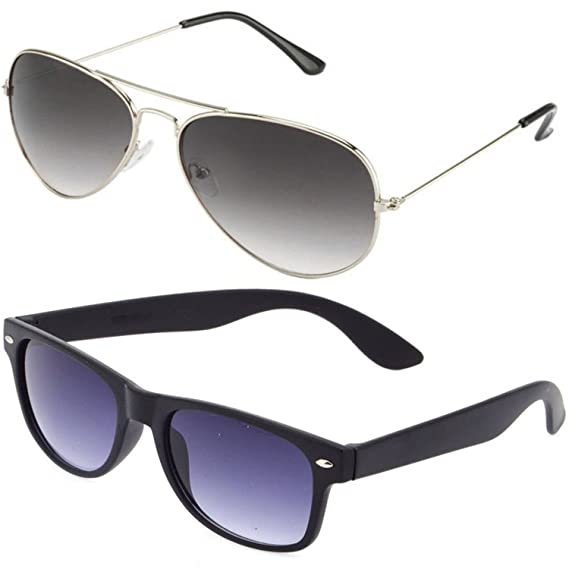0a54f88937a SHEOMY GOGALS FOR BOYS - COMBO OF STYLISH SILVER GREY AVIATOR AND MATTE  BLACK WAYFARER SUNGLASSES WITH 2 HARD BOXES  Amazon.in  Clothing    Accessories