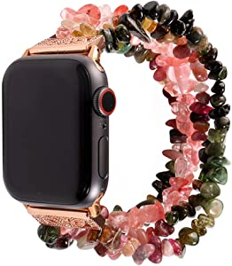 ZOOZOOT Compatible with Apple Watch Band 44mm 40mm 42mm 38mm, Jewelry Bracelet Beaded Natural Stone iWatch Bands Strap Replacement Wristband for Series 5/4/3/2/1