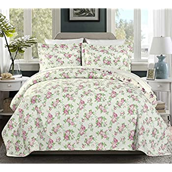 Amazon.com: Laura Ashley Lidia Cotton Quilt Set, Twin: Home & Kitchen : cotton quilt twin - Adamdwight.com
