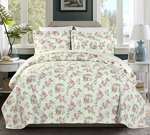 Rose Queen Quilt (Chezmoi Collection 3PC 2-in-1 REVERSIBLE Pink Rose Vintage Washed 100%-Cotton Quilt Set (Queen))
