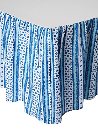- C&F Home Hampstead Stripes Bed Skirt, Blue/White, King