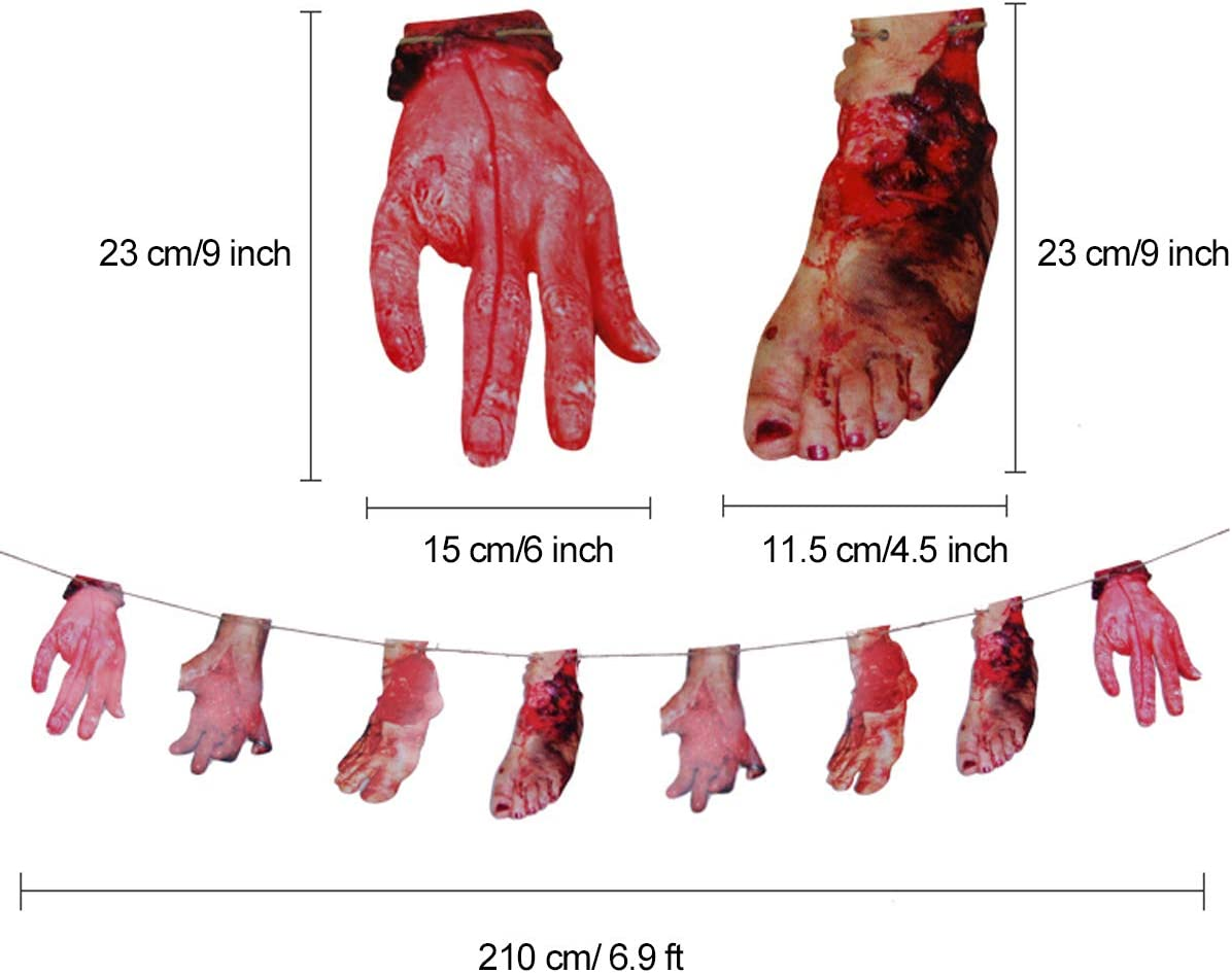 XONOR Halloween Bloody Severed Hands Feet Banners for Haunted House Halloween Vampire Zombie Party Decorations Supplies