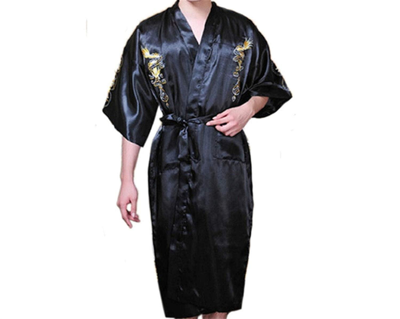 Bata de Seda de dragón para Hombre Pijamas de satén Cinturón Pijamas Talla Grande Pijamas Pijamas Ropa de Dormir Traje japonés Kimono Albornoz para Hombres: ...