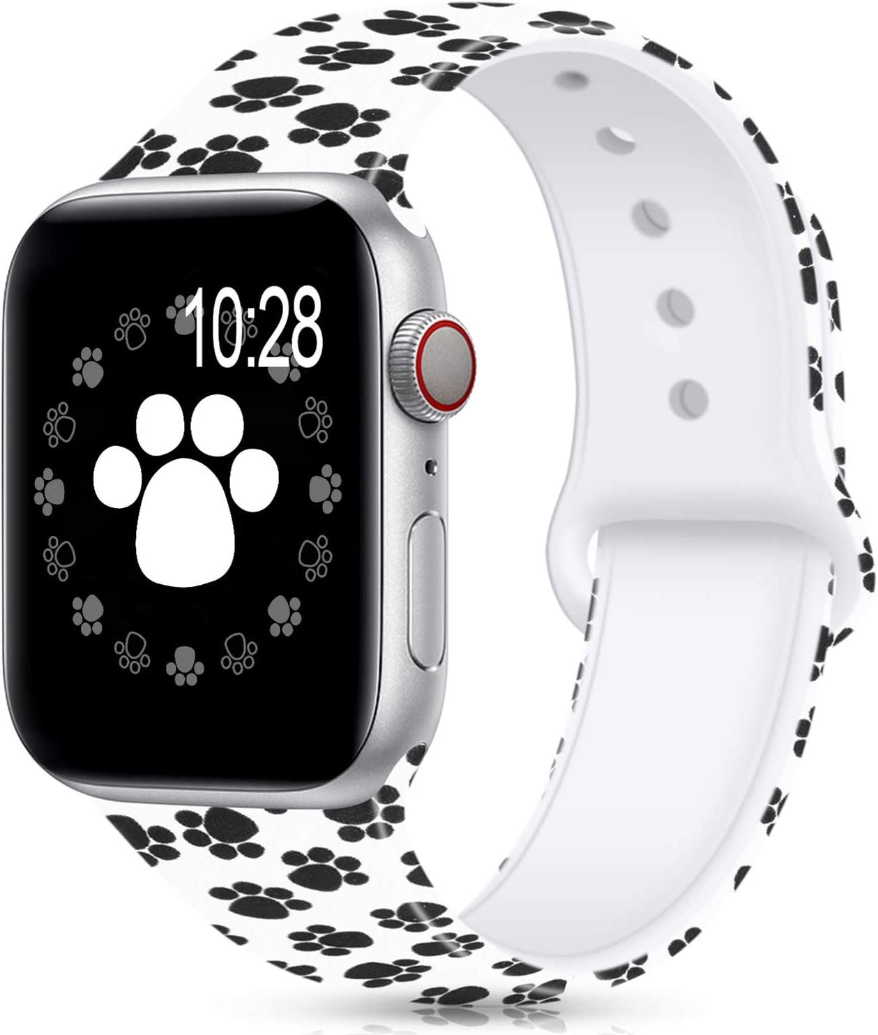Compatible For Apple Watch Band 38mm 42mm 40mm 44mm,Silicone Fadeless Pattern Printed Replacement floral Bands for iWatch Series 4/3/2/1,Women/Men
