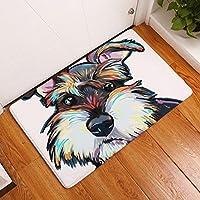 Eazyhurry Cool Schnauzer Print Rectangle Thin Doormat Pet Puppy Dog Printed Coral Fleece Home Decor Carpet Kitchen Floor Runner Floor Mat Indoor Outdoor Area Rug 16 X 24