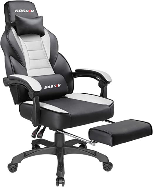 BOSSIN Racing Style Gaming Chair Office Computer Desk Chair with Footrest on blue race car desk chair, retro style office chair, racing computer chair, racing furniture, camaro racing car office chair, antique style office chair, audi racing office chair, gt omega pro racing office chair, sitting in a chair, racing seats, racing chair xbox one, western style office chair, car style office chair, racing style swivel chair,