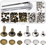 Outus Rivets Single Cap Rivet Tubular Metal Studs with Fixing Tool Kit for Leather Craft Repairs Decoration, 3 Sizes, 60 Set (Multicolor B)