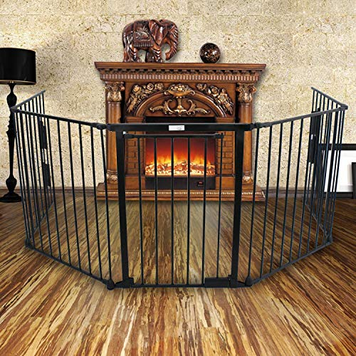 Windaze Safety Gate Fireplace Fence Hearth Guard For Baby Pet Dog Cat BBQ Metal Fire Gate Protection Fireguard 5 sides