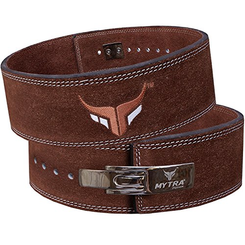 Mytra Fusion Leather courted Power Lifting Back Support Belt Weight Lifting Belt Men Weight Lifting Belt Women Weight Lifting Belt Weight Lifting Belt Lever Weight Lifting Belt Powerlifting Belt. (Lever Belts)