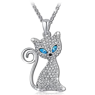Amazon qianse kitty cat pendant necklace with clear blue qianse kitty cat pendant necklace with clear blue crystals animal jewelry for women girls birthday gifts mozeypictures Choice Image