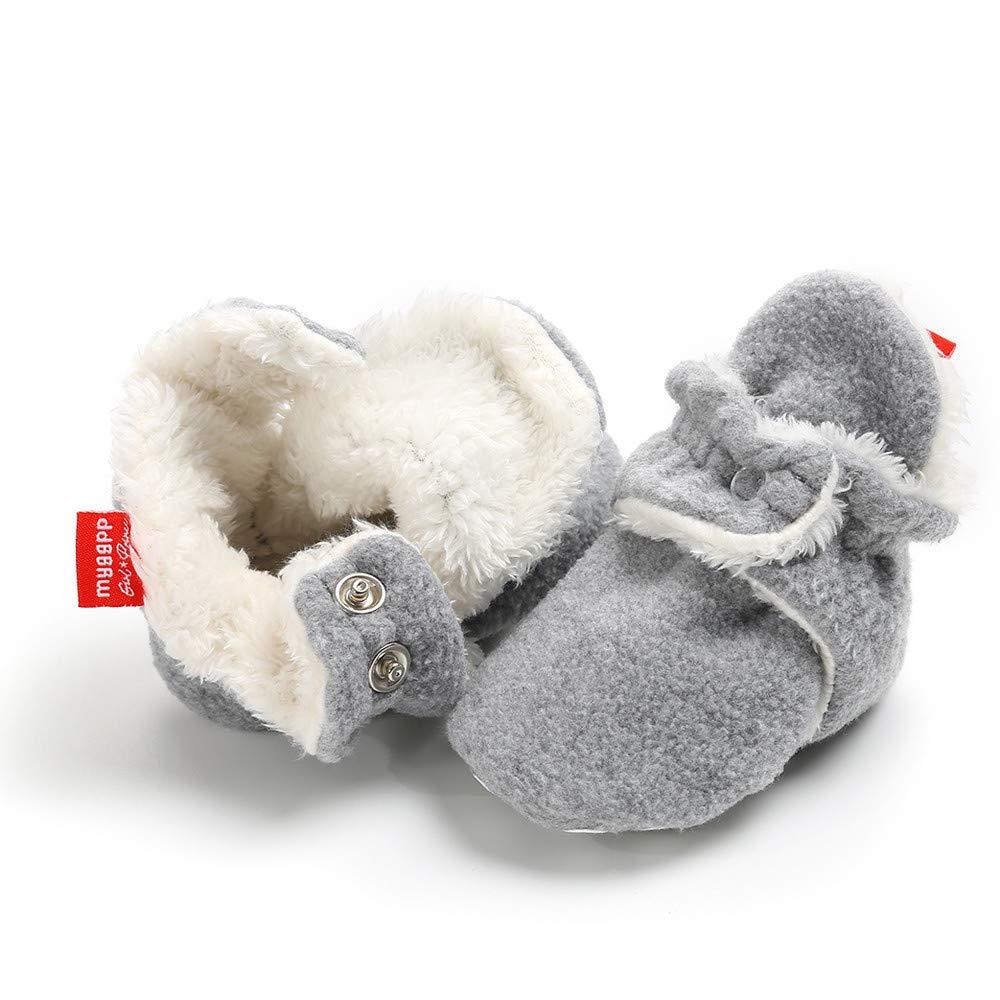 Cooljun 0-18 Mois Chaussons B/éb/é Filles Gar/çon Bottes Chaud Souple Mignon Coton Doux Enfant Pr/émarche Chaussures 12~18 Mois, rouge