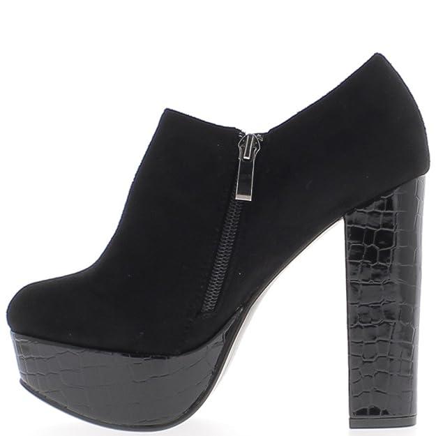 ChaussMoi Low Boots Noires à Talon épais DE 12,5cm bi matière  Amazon.fr   Chaussures et Sacs 82f57315253d