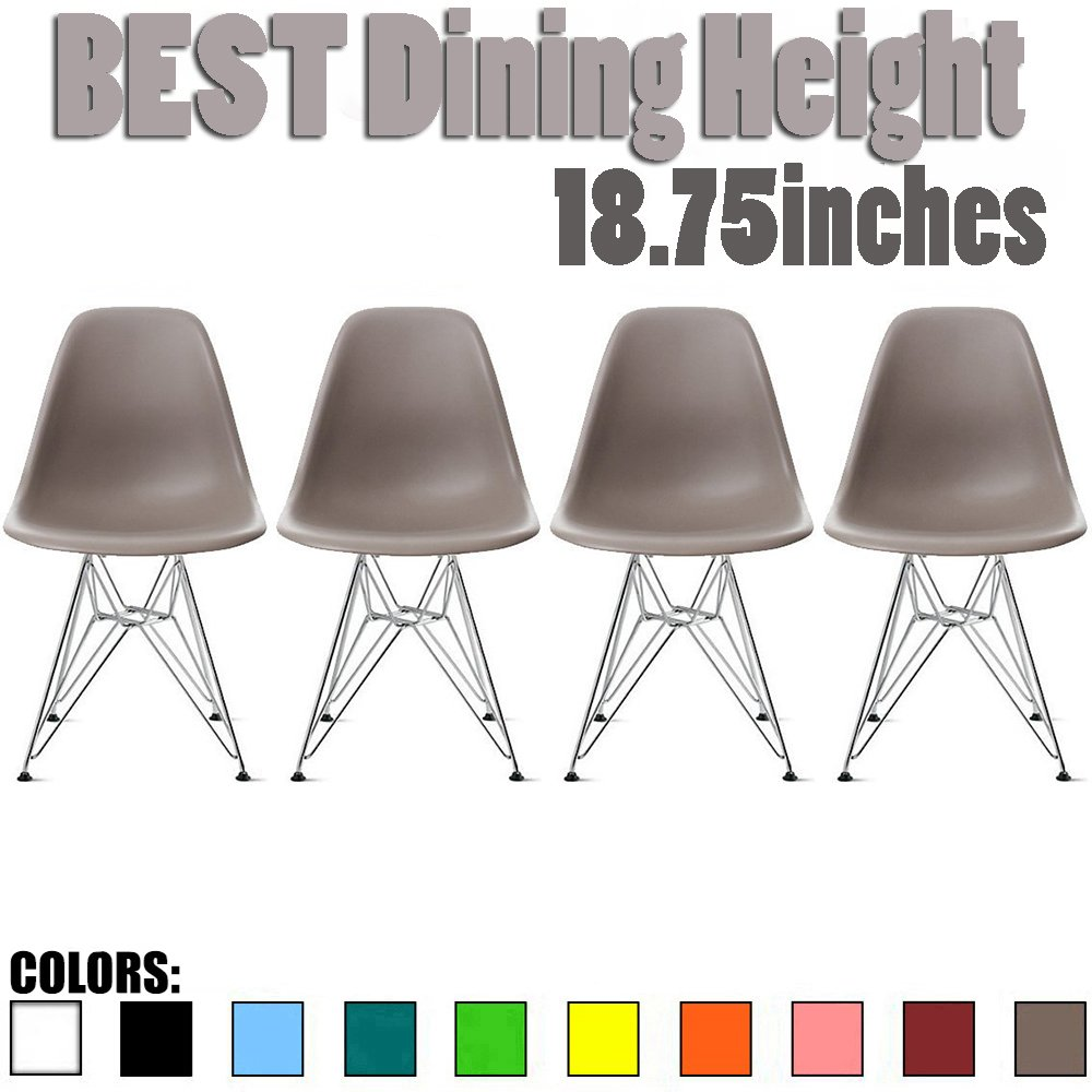 2xhome Set of 4 Taupe Gray Plastic Side Chair Chromed Wire Legs Eiffel Legs Dining Room Chair Lounge Chair No Arm Arms Armless Less Chairs Seats Wire Leg
