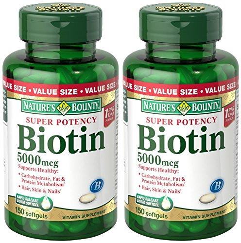 Set of 2 Nature's Bounty Biotin 5000 mcg, 150 Softgels